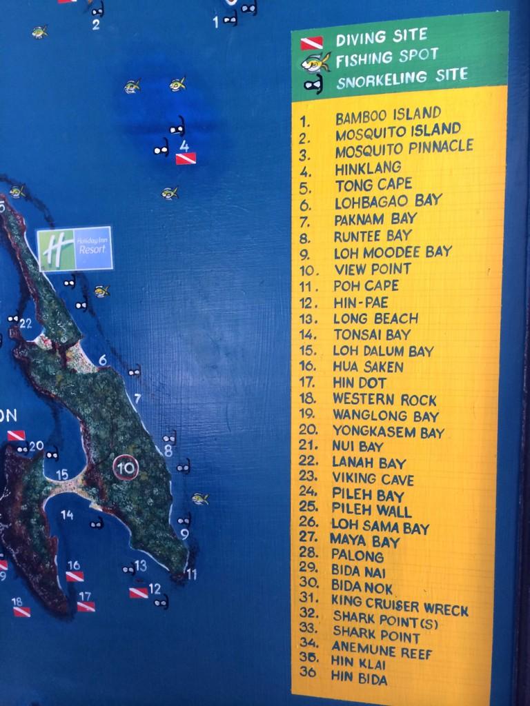 Mapa com os pontos de mergulho